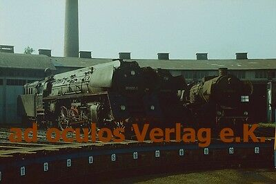 Original-Farbdia DR 01 0501-5 + 65 1058-0 + 52 5686-2 Zeitz 24.8.1977 E4493