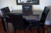 Faux Marble Dining Room Table with 4 Parson Chairs