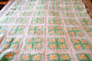 "Hand Crocheted Baby Afghan 42"" x 57"" Crib Size"