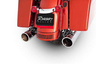 "Rinehart Chrome Exhaust 4"" Slip On Mufflers with Chrome Tips Harley Touring 95-1"