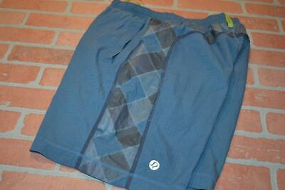 9608-a Mens Lululemon Gym Shorts Yoga Blue Polyester Blend Size Medium