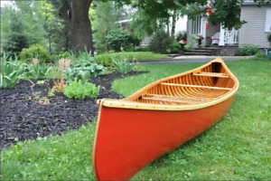 RESTORED VINTAGE LAGNFORD CEDAR CANVAS CANOE