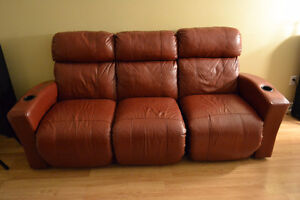 Red leather reclining couch