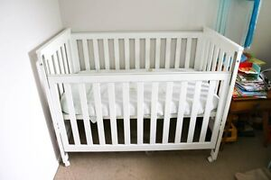 Childcare white convertible cot and mattress Wakerley Brisbane South East Preview