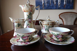 7pc Victorian-style vintage flower tea set