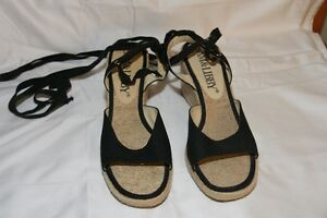 Sam & Libby Ankle Tie Up Wedge Sandals, Black 7.5M / Worn Twice