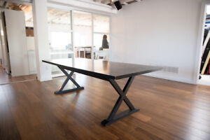 """Black Wooden Dining Table 95.75"""" x 40"""""""