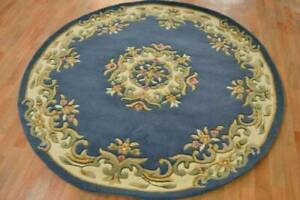Hand Tufted BLUE WOOL Classic design Floor Rug 120 Circle