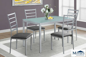 Brand NEW Silver Metal Dinette Set! Call 403-219-8886!