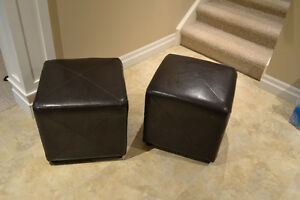 Ottoman Faux Leather Cube