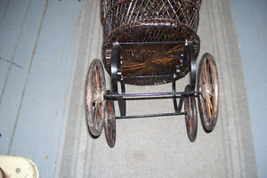 1800s PLASTER DOLL WITH PERIOD WICKER DOLL CARRIAGE London Ontario image 2