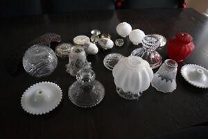 Antique Glass Lamp Shades Victorian LOT - 20 parts/pieces
