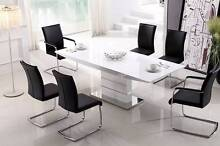 Luxury White MDF Glossy Top Extendable Dining Table 2.2m Length Dandenong Greater Dandenong Preview