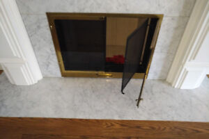 Fireplace Door - Glass & Black Screen Doors, Gold, 30.25(w) x 24