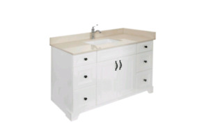 "*** BRAND NEW!! 60"" Dove White Maple Hardwood Vanity For Sale***"