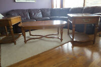 Vintage solid wood coffee and end tables