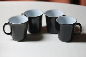 Set 4 Pyrex vtg. Black Coffee/Tea Mugs Cups 1970's