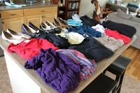 4 pairs of shoes &13 items of size L clothing in good condition