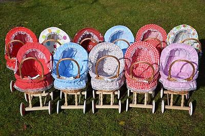 Puppenwagen Weide Holz  Handarbeit verschiedene Muster m. Decke Kissen