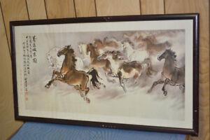 RARE PRINT HORSE TAIWAN CHIANG CHING GUO 蔣經國 ROSEWOOD 紅木 REDWOOD