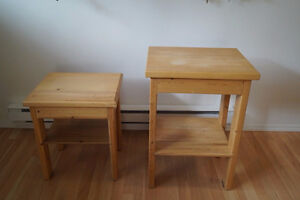 2 small pine tables