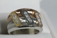 NEW TRI COLOR 14K HEAVY GOLD & DIAMONELLE LADIES RING