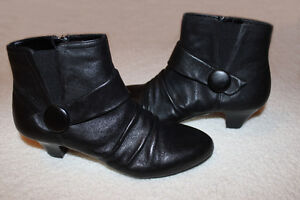 New Women's Black Leather Dress Boots