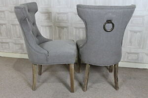 FRENCH STYLE UPHOLSTERED DINING CHAIR IN STONE WITH BUTTON BACK AND RING DETAIL