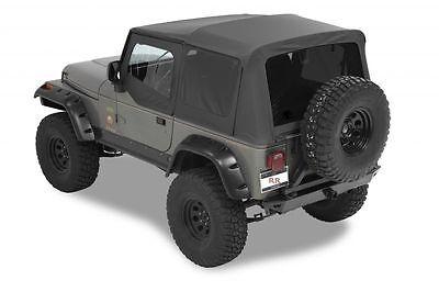 (1988-1995 Jeep Wrangler Replacement Soft Top, Upper Doors & Tinted Windows Black)