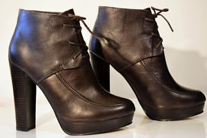 "Kelsi Dagger ""Evonna"" Dark Brown Leather Booties Size 6.5"