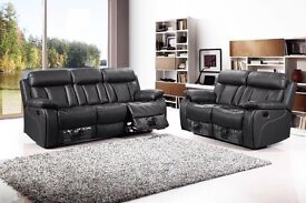 New Black Leather 3 + 2 Recliner