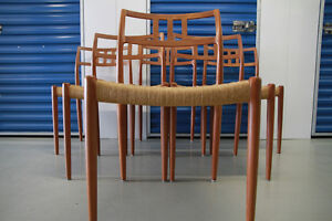 NIELS MOLLER #79 TEAK DINING CHAIRS x 6 - Mid Century Mod