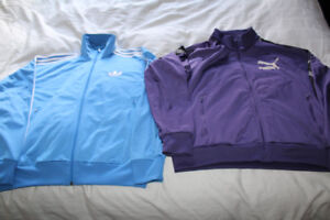 Blue Adidas large & purple Puma XL Track Jacket in excellent