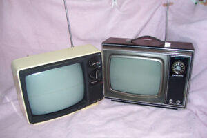 """1970s 14 """" BLACK & WHITE TVS BEEN STORED FOR YEARS MAY WORK"""