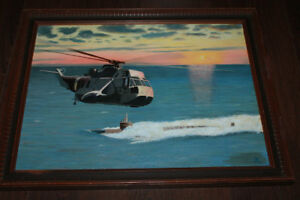 Original Antique Helicopter Painting Signed Ship Moving Sale