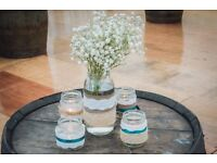 ~225 decorated wedding jam jars, rustic country wedding centrepieces/decorations