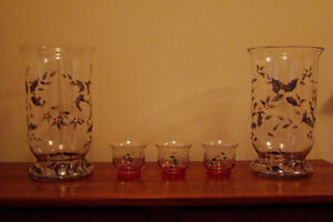 Pfaltzgraff Winterberry Hand-Painted Glass Hurricane Set - NEW