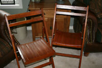 Vintage Folding Wooden Chairs  NEW PRICE