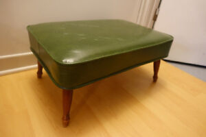 Vintage Danish Mid Century Modern Footstool Ottoman Green
