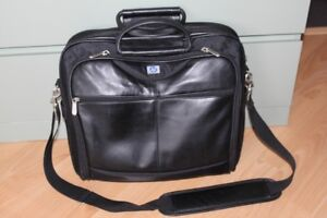 HP Black Leather Laptop Briefcase
