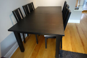 STORNAS Extendable dining table + 6 chairs FOR SALE