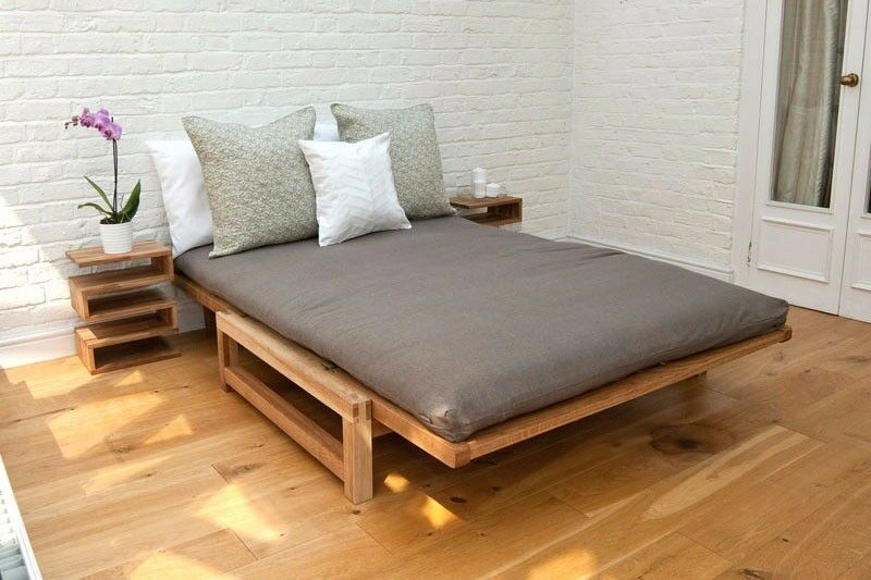 2 Seater Solid Oak Comfort Double Sofa Bed Futon Company
