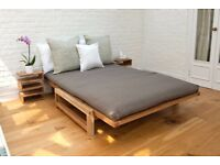 2 Seater Solid Oak - Comfort Double Sofa Bed - Futon Company