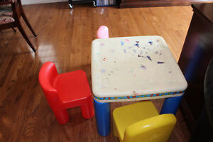 Plastic table and 3 chairs for kids