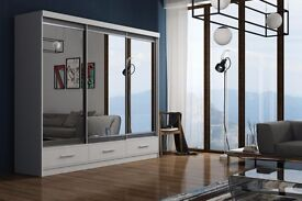 **CALL NOW AND PAY ON DELIVERY!*150 CM*WHITE MARGO MIRROR Sliding Door Wardrobe -SAME DAY DELIVERY!