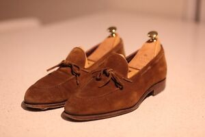 For Sale: Carmina Snuff Suede String Loafers Sz 10.5UK
