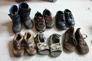 6 Pairs of boys shoes size 8 including boots, sneakers, sandals