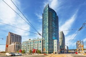 HARBOURFRONT CONDO 1 BDR +DEN WITH PARKING +BALCONY+VIEW + LKR -