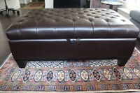 Unreal price for like new leather luxury ottoman from Urban Barn
