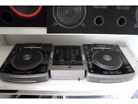 numark ndx 800 with numark m2 mixer cdj turntables decks